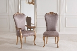 כיסאות יוקרה מעוצבות עם מושב קפיצים ופיתוחי עץ מיוחדים - דגם 3.3-4.6 -  -S 1042_cloe במידות רוחב-53 עומק -66  גובה מושב-50 גובה כיסא-117 . כיסא עם ידיות דגם 3.7-4.9 - 1042-C במידות אורך-64 עומק-70 גובה מושב-50 גובה כיסא-117. דוידה מוביל-איטליה. ניתן לקבל עם ניטים או סרט . ובבחירת  צבע וגוון עץ,בד ואו עור. דיזיין .G.D - גלרי דענתיק . ברח' דוד המלך 1 הרצליה פיתוח. www.gallerydeantique.com